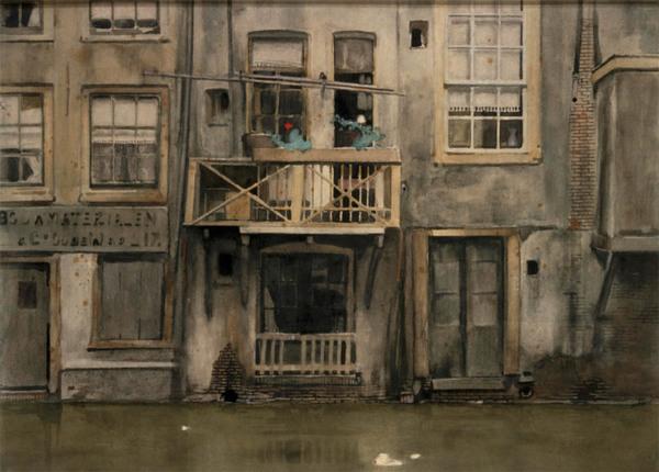 'Huizen aan de Oude Zijds Achterburgwal te Amsterdam' ca. 1900 - aquarel: Willem Witsen (herkomst: coll. Centraal Museum, Utrecht)