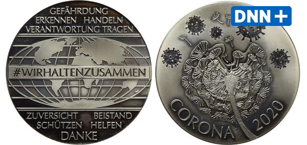 Medaille aus Dresden als bleibende Erinnerung an die Corona-Pandemie