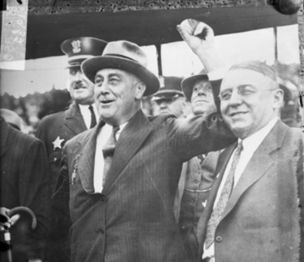 In this 1932 photograph from the Chicago Daily News, Franklin Delano Roosevelt stands next to Mayor Anton Cermak in Chicago. One year later on Feb. 15, 1933, Cermak was shot while attending a rally with then President-elect Roosevelt in Miami. Roosevelt drove with Cermak all the way to the hospital. He survived for a few weeks and then died on March 6. From the Sun-Times archive.
