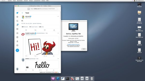 A screenshot of the FreeBSD-based hello operating system.