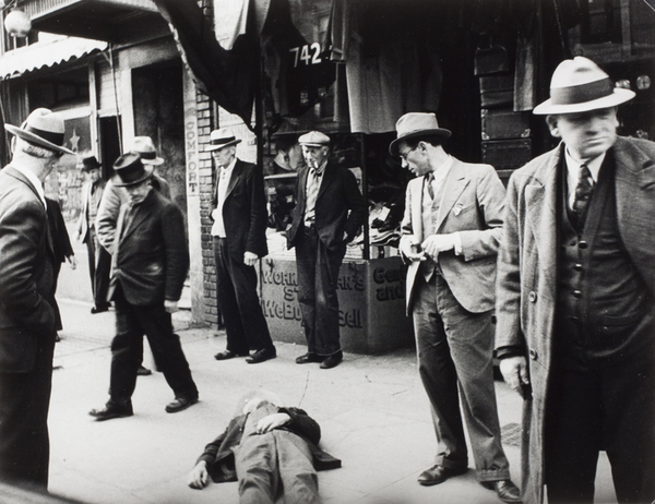 Hansel Mieth, A man lies on the street; scene in front of Comfort Hotel on Mission Street, San Francisco, 1934.