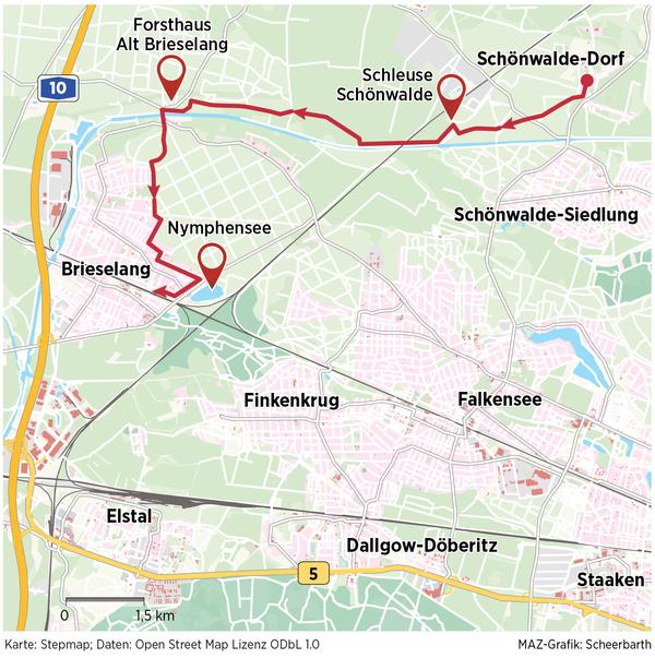 Die Route von Schönwalde nach Brieselang.