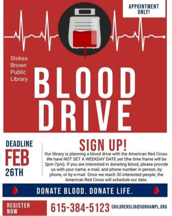Stokes Brown Public Library - Blood Drive