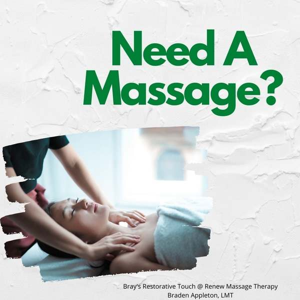 Braden Has a Few Openings This Week at Renew Massage Therapy