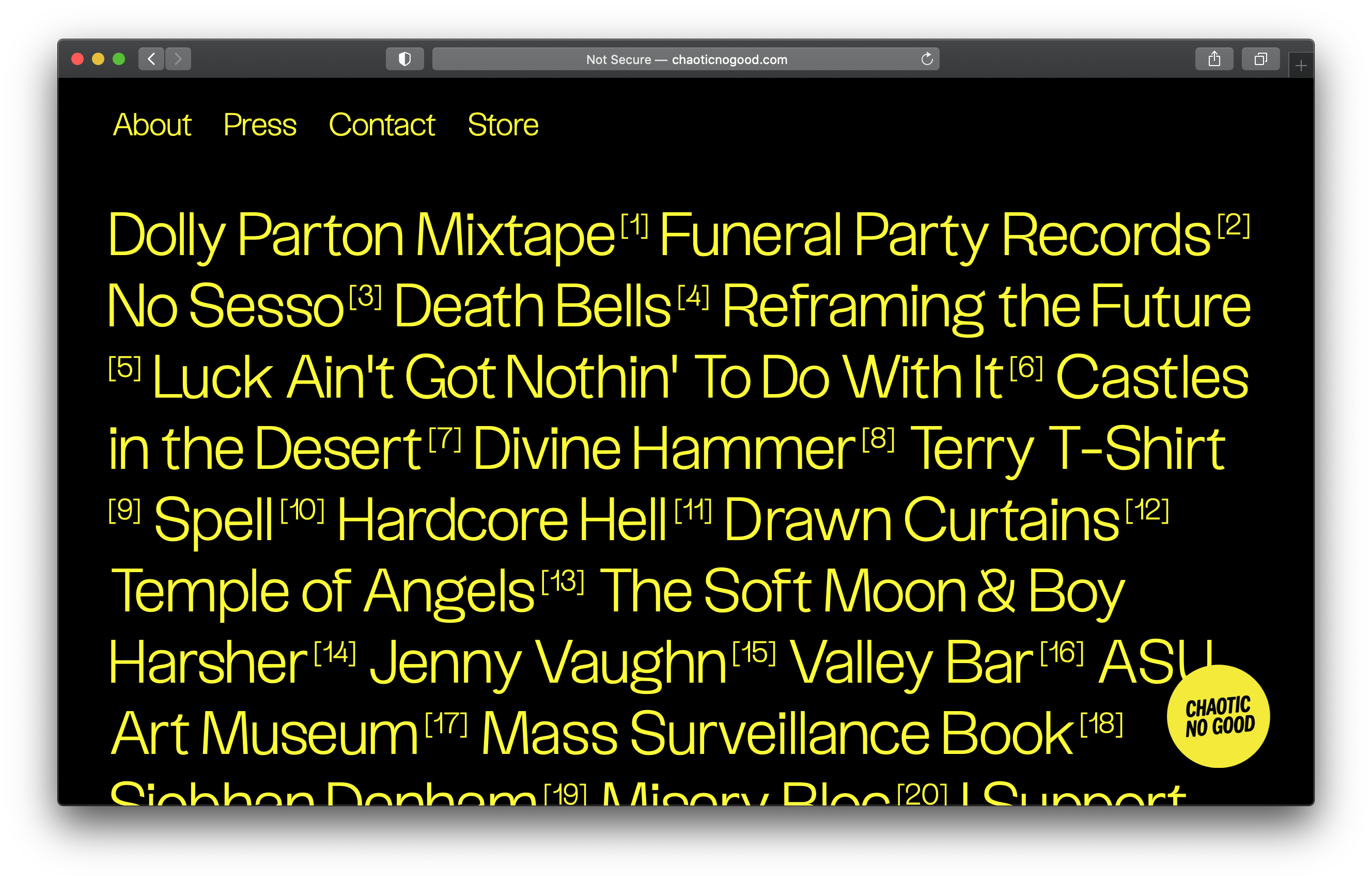 The new website of Chaotic No Good is entirely typeset in Uxum Grotesque by Bureau Nuit