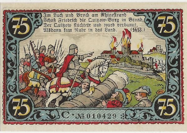 Der 75-Pfennig-Notgeldschein der Stadt Friesack (Havelland) von 1921 zeigt die Zerstörung der Friesacker Burg des Dietrich von Quitzow 1414 durch Markgraf Friedrich I. (Repro: Sammlung Hesse)