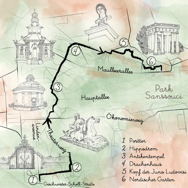 Die Route durch Sanssouci. Grafik: Gesine Thränhardt