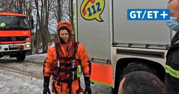 Göttinger Berufsfeuerwehr übtMenschenrettung aus eiskaltem See