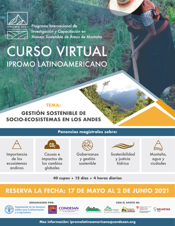 Online course: IPROMO 2021 Latinoamericano: gestión sostenible de socio-ecosistemas en los Andes