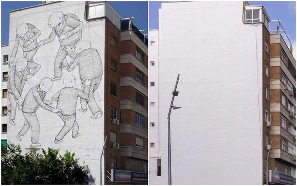 Arte Urbano: El fundido a blanco de un mural icónico en Usera   Madrid   EL PAÍS
