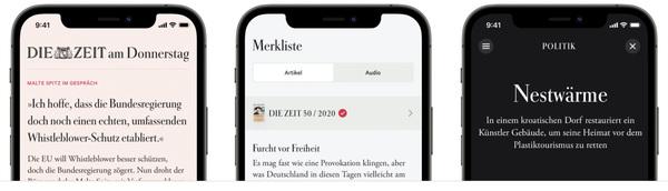 So sieht die neue Zeitungs-App der ZEIT aus