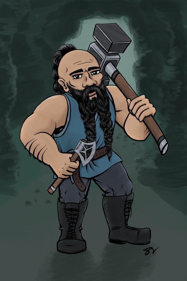 Thordar Stonebreaker, dwarven barbarian