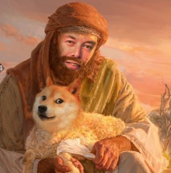 Elon is the good shepherd, herding Doge to global acceptance in the name of Irony