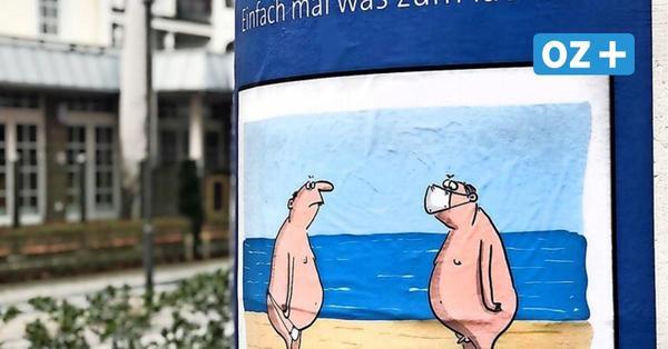 Kunst in Kühlungsborn: Corona-Cartoons an Litfaßsäulen