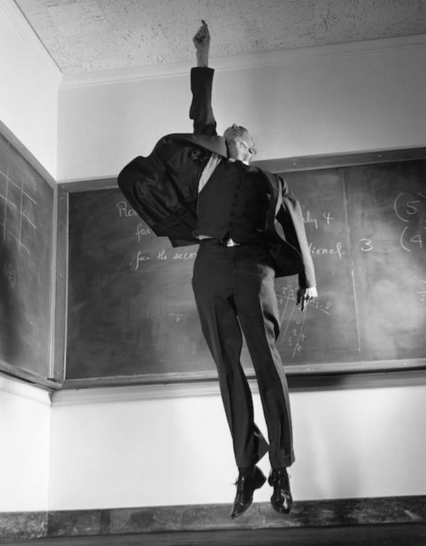 Philippe Halsman, Robert Oppenheimer Jumping, 1958.