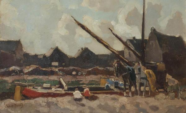 'Laadpunt van de pramen aan een vaart in een dorpje' - marouflé: Willem de Zwart (Kavel 2920, Veilinghuis De Ruiter)