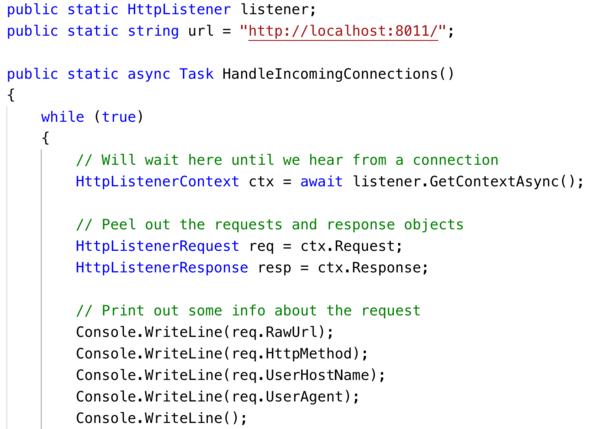 Async HTTP server in C#