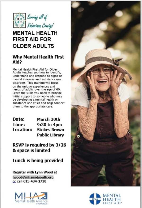 Stokes Brown Public Library: Mental Health First Aid for Older Adults Seminar March 30, 2021