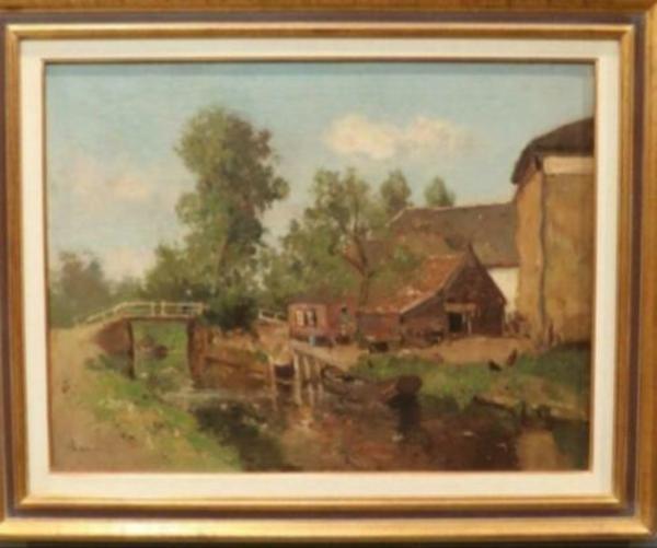 ≥ Louis stutterheim schilderij boerderij aan vaart - Kunst | Schilderijen | Klassiek - Marktplaats.nl