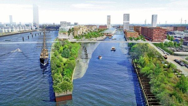 Projet du nouveau quartier de Grasbrook à Hambourg sur l'emplacement des terrains attribués à la Tchécoslovaquie (VOGT, Herzog & de Meuron)