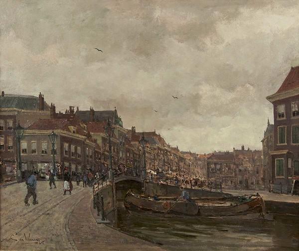 'Gezicht op de Wagenbrug en de Wagenstraat, Den Haag' - olieverf op doek: Kees van Waning (herkomst: coll. Simonis & Buunk, Ede)