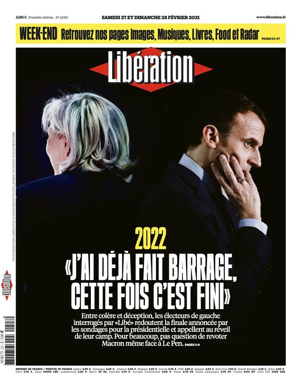 This weekend's Libération Newspaper