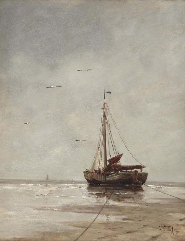 'Bomschuit on the beach' 1890 - olieverf op doek: Kees van Waning (herkomst: voorm. Christie's Amsterdam)