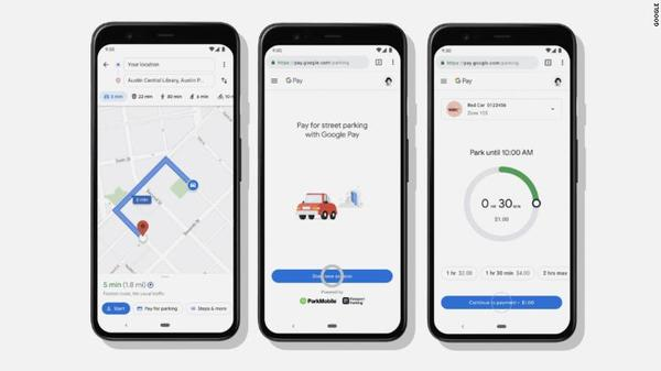 Paying for parking and public transport in google maps