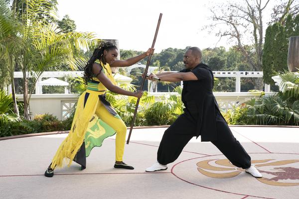"Princes Meeka (KiKi Layne) faces off against her father, Zamunda's Prince Akeem (Eddie Murphy), in ""Coming 2 America.""   Amazon Prime Video"