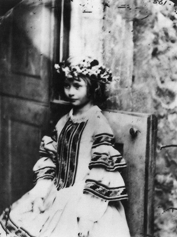 """Alice Liddell as """"Queen of the May,"""" Lewis Carroll, 1860."""