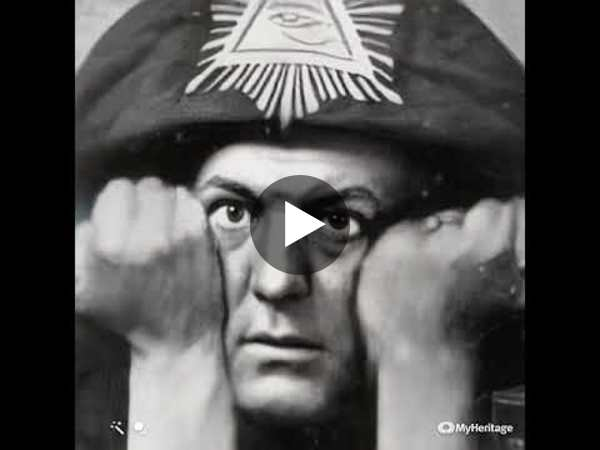 Aleister Crowley in the iconic A∴A∴ hood people think is a hat. Animated.