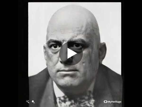 Aleister Crowley's famous deadpan photo. Animated.