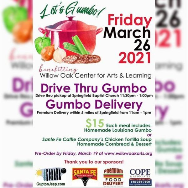 Willow Oak Center for Arts and Learning - Let's Gumbo! Friday, March 26th