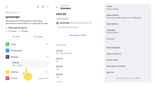 Github for Android now shows releases directly on the project page