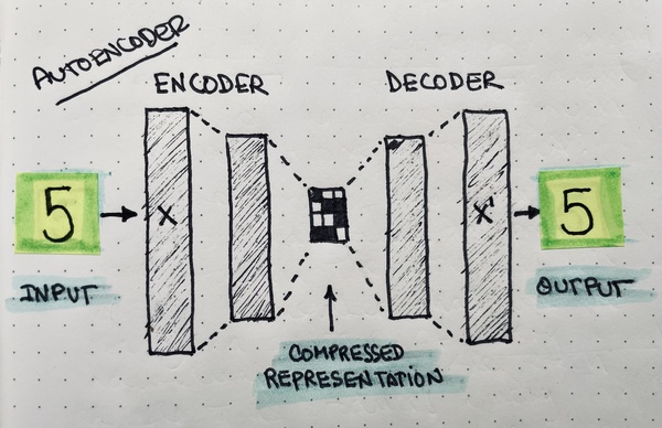 My attempt at drawing the structure of a basic autoencoder.