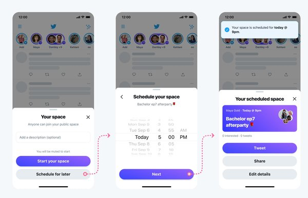 Twitter shared designs for how Space scheduling will work.