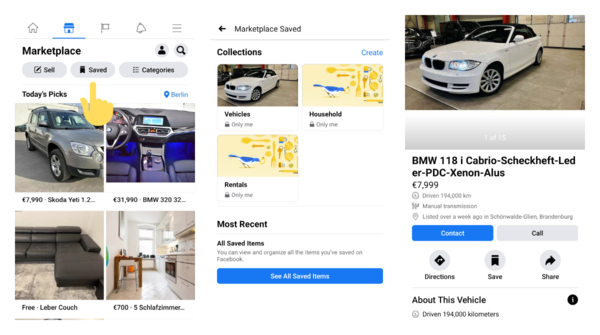 Facebook Marketplace shows Saved tab for your shopping collections on Android