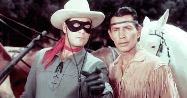 "Clayton Moore as ""The Lone Ranger"" and Jay Silverheels as Tonto"