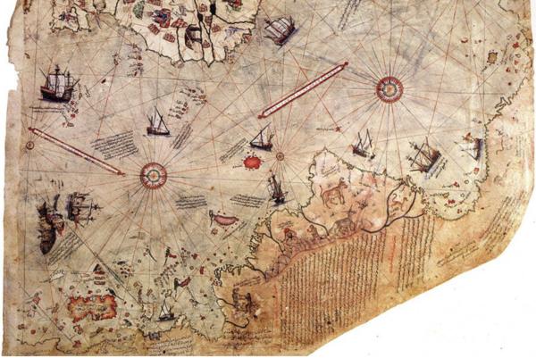 Carte de Piri Reiss (XVI ème siècle ?). En haut la côte ouest africaine. En bas la côte sud américaine avec, dans son prolongement, ce qui pourraient être les contours de l'Antarctique.