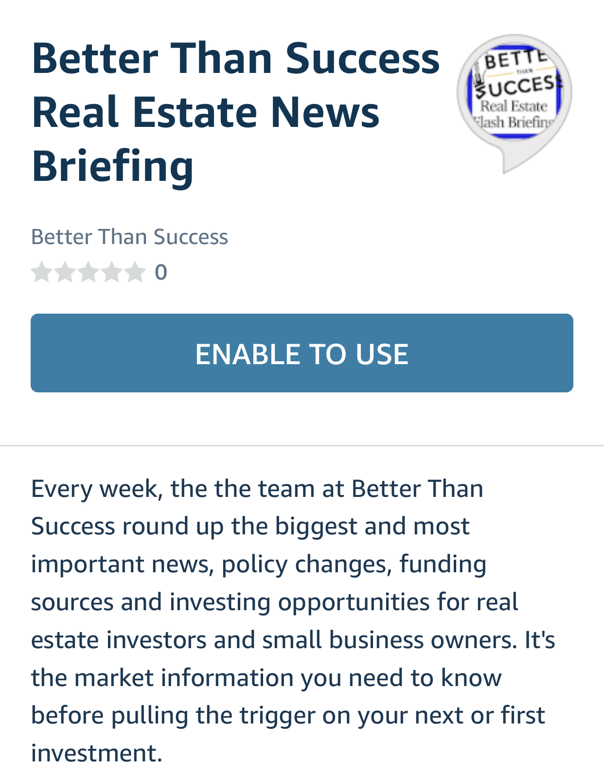 Better Than Success Real Estate News Briefing