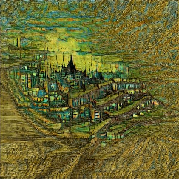 """A cityscape in the style of Van Gogh"" using CLIP — @advadnoun."