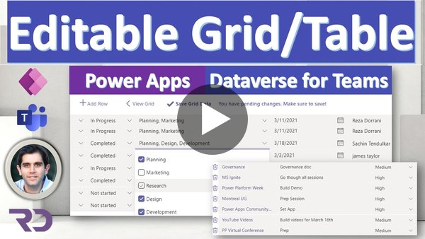 Power Apps Editable Table using Gallery in Dataverse for Teams