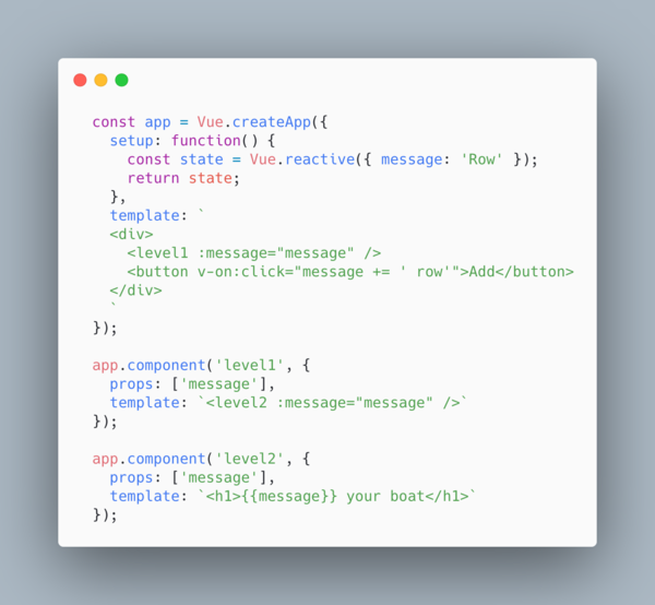 `message` is an example of prop drilling
