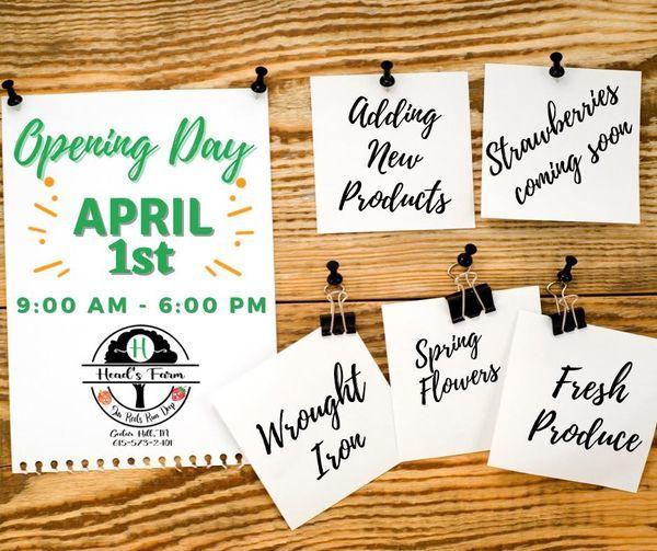 Head's Farm Opening April 1st!