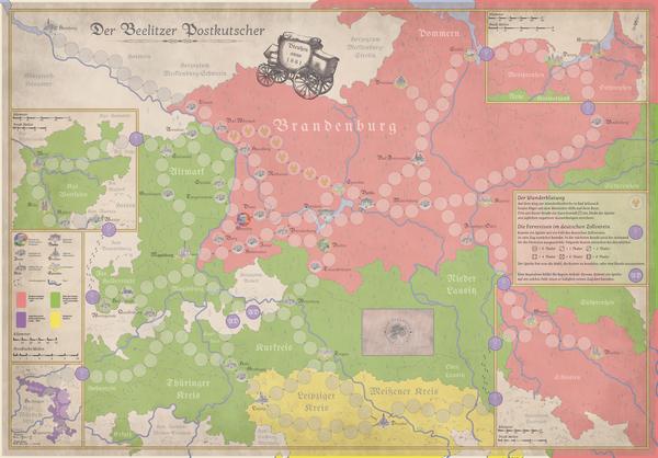 Das Spielfeld ist eine um Beelitz zentrierte Karte mit den Postrouten Preußens und seiner angrenzenden Herzogtümer und Königreiche. Foto: privat
