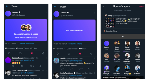 Twitter Spaces got new clickable cards along with a new layout that can show shared tweets
