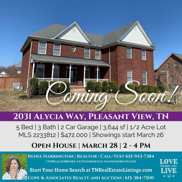Open House Coming Soon! March 28, 2 - 4 PM