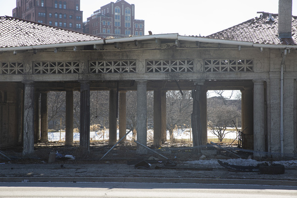 An old Jackson Park Golf Pavilion stands near E Marquette Dr in South Shore after a car accident sent a vehicle into the building, Tuesday, March 2, 2021. | Anthony Vazquez/Sun-Times