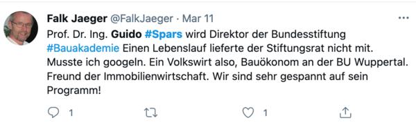 So äußerte sich auf Twitter der Architekturkritiker Falk Jaeger zur Benennung Spars'.