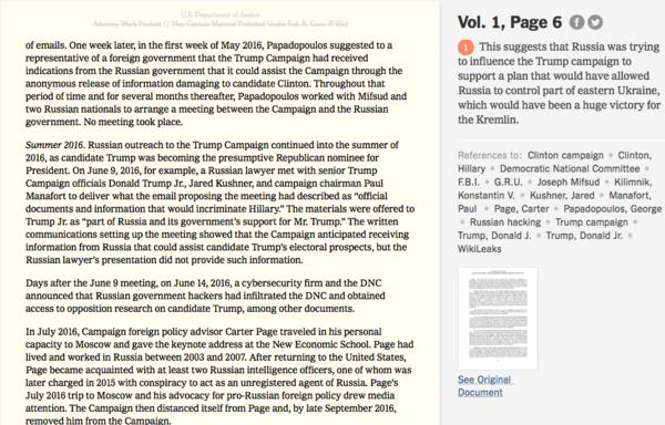 Il Mueller report nella versione del New York Times